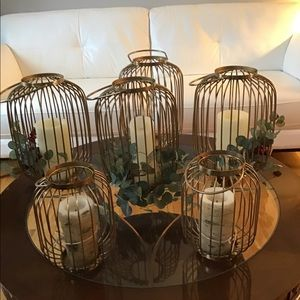 4 large & 2 medium gold wire cage lanterns.